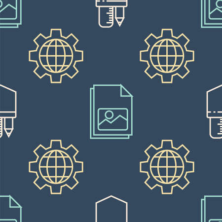 Set line Crossed ruler and pencil, Globe of the Earth and gear and Picture landscape on seamless pattern. Vector