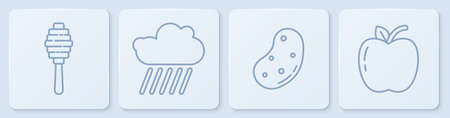 Set line Honey dipper stick, Potato, Cloud with rain and Apple. White square button. Vector.