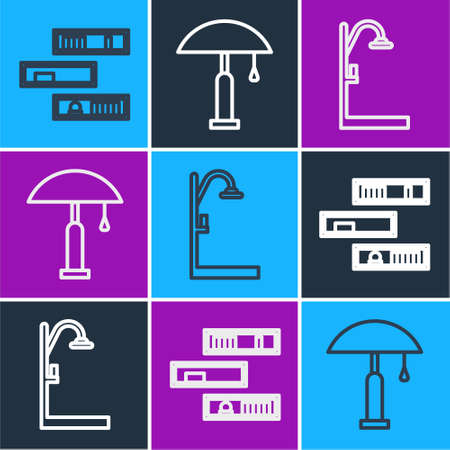 Set line Shelf with books, Shower and Table lamp icon. Vector.