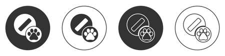 Black Dog pill icon isolated on white background. Prescription medicine for animal. Circle button. Vector.