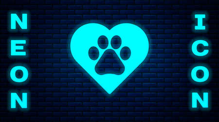 Glowing neon Heart with animals footprint icon isolated on brick wall background. Pet paw in heart. Love to the animals. Vector.