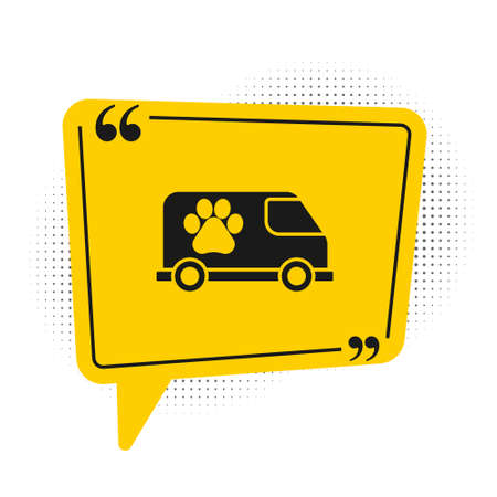 Black Veterinary ambulance icon isolated on white background. Veterinary clinic symbol. Yellow speech bubble symbol. Vector.  イラスト・ベクター素材