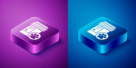 Isometric Dog medicine bottle icon isolated on blue and purple background. Container with pills. Prescription medicine for animal. Square button. Vector.