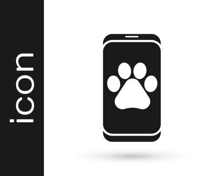 Grey Veterinary clinic symbol icon isolated on white background. Cross hospital sign. A stylized paw print dog or cat. Pet First Aid sign. Vector.  イラスト・ベクター素材
