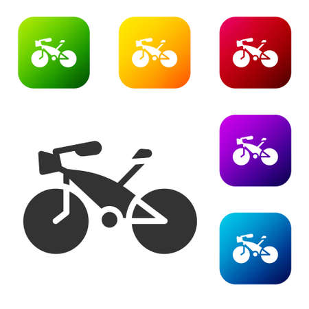 Black Bicycle icon isolated on white background. Bike race. Extreme sport. Sport equipment. Set icons in color square buttons. Vector. Illustration