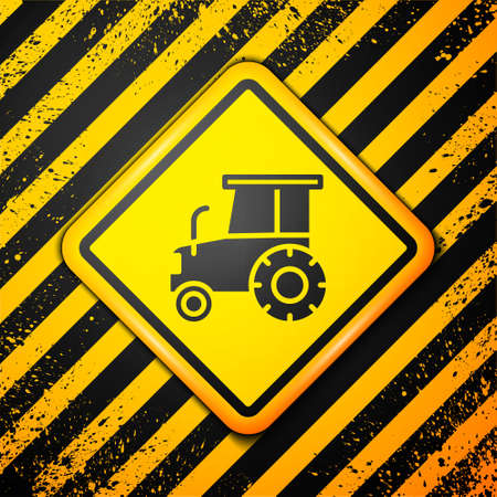 Black Tractor icon isolated on yellow background. Warning sign. Vector. Çizim