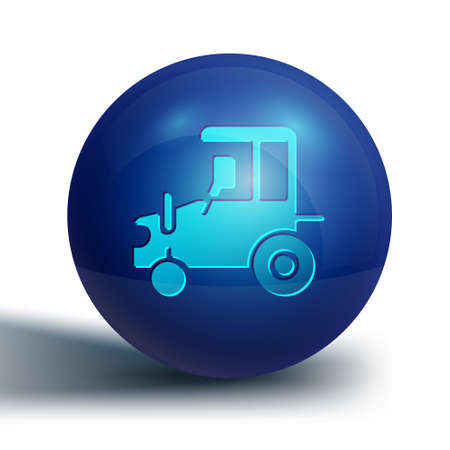 Blue Tractor icon isolated on white background. Blue circle button. Vector.