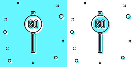Black line Speed limit traffic sign 60 km icon isolated on green and white background. Random dynamic shapes. Vector.
