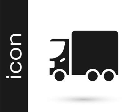 Black Delivery cargo truck vehicle icon isolated on white background.  Vector.