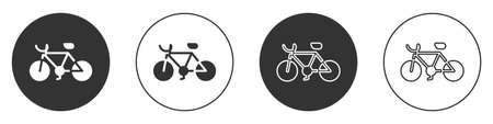 Black Bicycle icon isolated on white background. Bike race. Extreme sport. Sport equipment. Circle button. Vector.