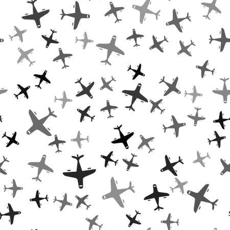 Black Plane icon isolated seamless pattern on white background. Flying airplane icon. Airliner sign.  Vector.