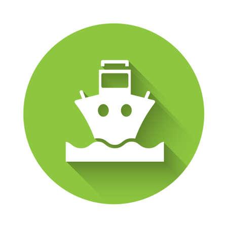 White Cargo ship icon isolated with long shadow. Green circle button. Vector.