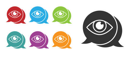 Black Eye scan icon isolated on white background. Scanning eye. Security check symbol. Cyber eye sign. Set icons colorful. Vector.