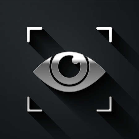 Silver Eye scan icon isolated on black background. Scanning eye. Security check symbol. Cyber eye sign. Long shadow style. Vector. Stock Illustratie