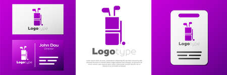 Logotype Golf bag with clubs icon isolated on white background.