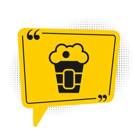 Black Popcorn in cardboard box icon isolated on white background. Popcorn bucket box. Yellow speech bubble symbol. Vector.