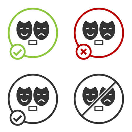 Black Comedy and tragedy theatrical masks icon isolated on white background. Circle button. Vector.  イラスト・ベクター素材