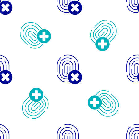 Blue Cancelled fingerprint icon isolated seamless pattern on white background. Access denied for user concept. Error, fraud. Identification sign. Touch id.  Vector.