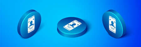 Isometric Mobile phone and face recognition icon isolated on blue background. Face identification scanner icon. Facial id. Cyber security. Blue circle button. Vector. Stock Illustratie