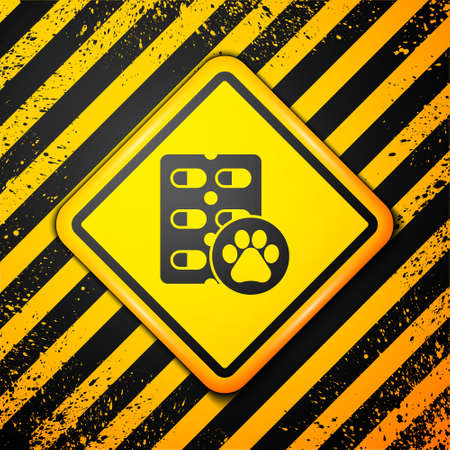 Black Dog pill icon isolated on yellow background. Prescription medicine for animal. Warning sign. Vector.  イラスト・ベクター素材
