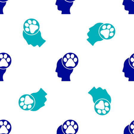 Blue Human head with animals footprint icon isolated seamless pattern on white background. Pet paw in heart. Love to the animals.  Vector.  イラスト・ベクター素材