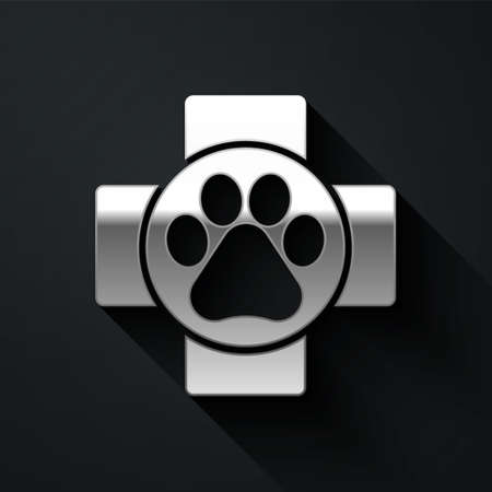 Silver Veterinary clinic symbol icon isolated on black background. Cross hospital sign. A stylized paw print dog or cat. Pet First Aid sign. Long shadow style. Vector.  イラスト・ベクター素材