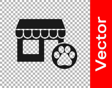 Black Veterinary medicine hospital, clinic or pet shop for animals icon isolated on transparent background. Vet or veterinarian clinic. Vector. Stock Illustratie