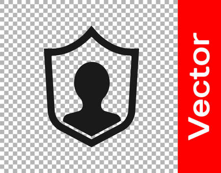 Black User protection icon isolated on transparent background. Secure user login, password protected, personal data protection, authentication. Vector. 向量圖像