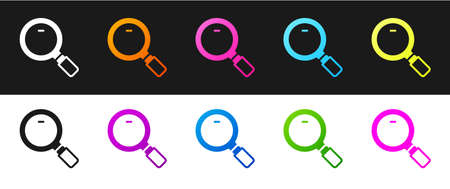 Set Magnifying glass icon isolated on black and white background. Search, focus, zoom, business symbol. Vector.