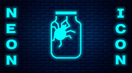 Glowing neon Spider in jar icon isolated on brick wall background. Happy Halloween party. Vector.