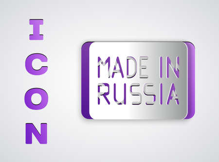 Paper cut Made in Russia icon isolated on grey background. Paper art style. Vector. Illusztráció