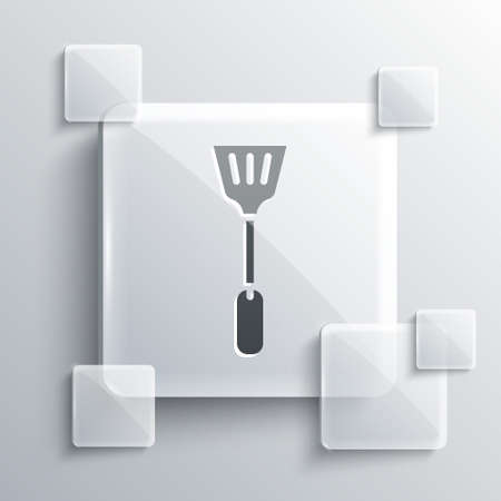 Grey Fly swatter icon isolated on grey background. Square glass panels. Vector. Illusztráció