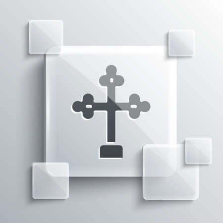 Grey Christian cross icon isolated on grey background. Church cross. Square glass panels. Vector.