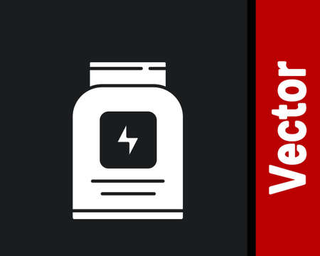 White Sports nutrition bodybuilding proteine power drink and food icon isolated on black background. Vector.