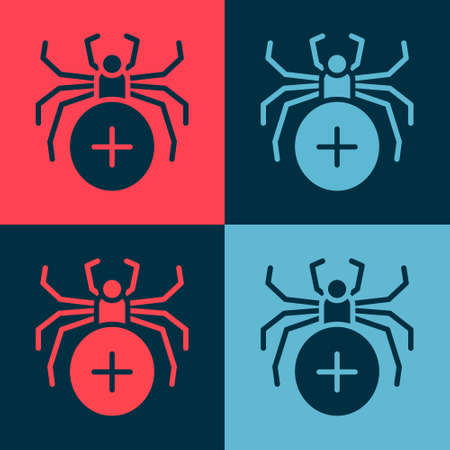 Pop art Spider icon isolated on color background. Happy Halloween party. Vector.