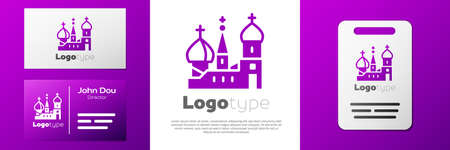 Logotype Moscow symbol - Saint Basil's Cathedral, Russia icon isolated on white background.