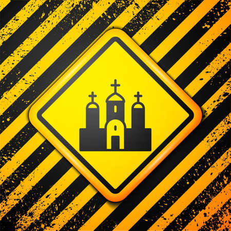 Black Church building icon isolated on yellow background. Christian Church. Religion of church. Warning sign. Vector.