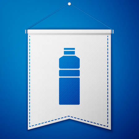 Blue Fitness shaker icon isolated on blue background. Sports shaker bottle with lid for water and protein cocktails. White pennant template. Vector. 向量圖像