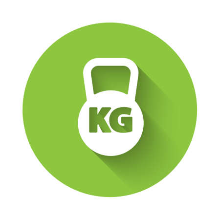 White Kettlebell icon isolated with long shadow. Sport equipment. Green circle button. Vector.