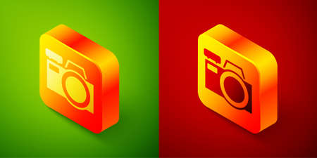 Isometric Photo camera icon isolated on green and red background. Foto camera icon. Square button. Vector.