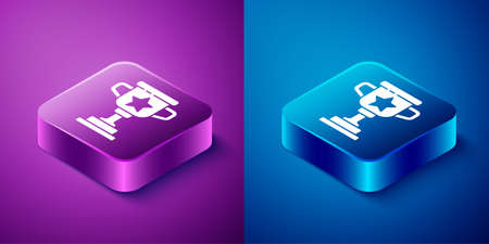 Isometric Award cup icon isolated on blue and purple background. Winner trophy symbol. Championship or competition trophy. Sports achievement sign. Square button. Vector.