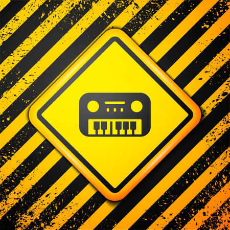 Black Toy piano icon isolated on yellow background. Children toy. Warning sign. Vector. Ilustração