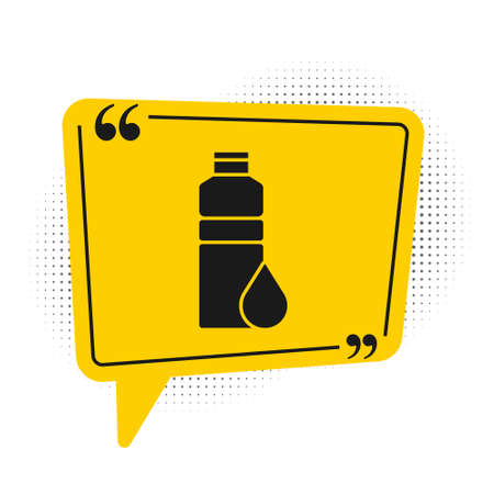Black Fitness shaker icon isolated on white background. Sports shaker bottle with lid for water and protein cocktails. Yellow speech bubble symbol. Vector.