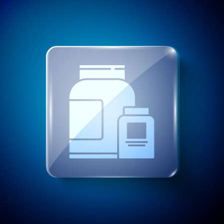 White Sports nutrition bodybuilding proteine power drink and food icon isolated on blue background. Square glass panels. Vector.