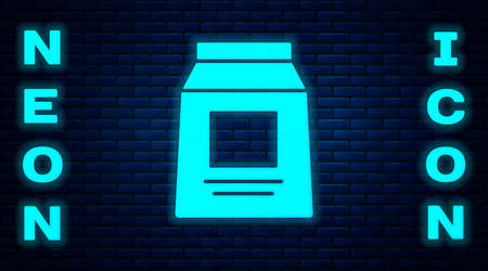 Glowing neon Sports nutrition bodybuilding proteine power drink and food icon isolated on brick wall background. Vector.