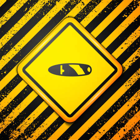 Black Cigar icon isolated on yellow background. Warning sign. Vector. 일러스트