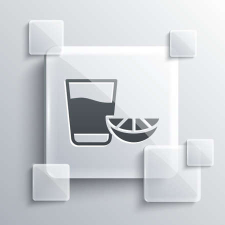 Grey Tequila glass with lemon icon isolated on grey background. Mexican alcohol drink. Square glass panels. Vector.