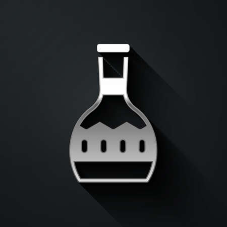 Silver Tequila bottle icon isolated on black background. Mexican alcohol drink. Long shadow style. Vector. Ilustracja