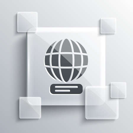 Grey Worldwide icon isolated on grey background. Pin on globe. Square glass panels. Vector. 일러스트