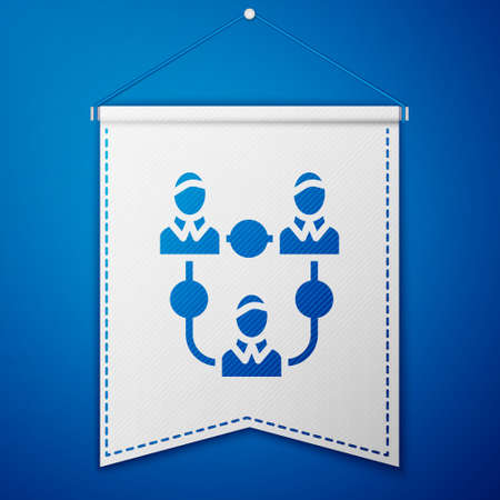 Blue Project team base icon isolated on blue background. Business analysis and planning, consulting, team work, project management. White pennant template. Vector.